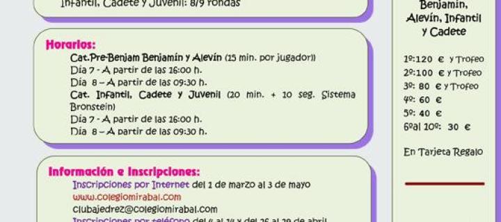 XVI Festival de Ajedrez Mirabal